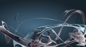 El líquido abstracto azul agita 3D rendido ilustración del vector