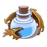 El líquido azul en el frasco es guardado por un dragón aislado en el fondo blanco Ejemplo del primer de la historieta del vector stock de ilustración