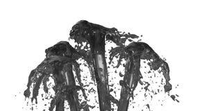 El líquido hermoso del espray de la fuente le gusta el jugo gris, fuente con muchas corrientes del líquido que suben arriba 3d ri ilustración del vector