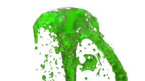 El líquido hermoso del espray de la fuente le gusta el jugo verde, fuente con la corriente líquida que sube arriba 3d rinden con  libre illustration