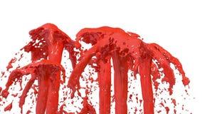 El líquido hermoso del espray de la fuente le gusta la pintura roja, fuente con muchas corrientes del líquido que suben arriba 3d libre illustration