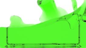 El líquido transparente verde llena la pantalla, aislada en HD lleno blanco ilustración del vector