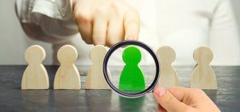 El l?der de la mujer elige a la persona en el equipo Gesti?n de recursos humanos Trabajador talentoso Personal de alquiler B?sque fotos de archivo