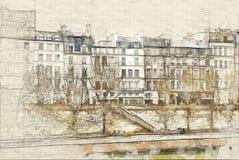 El la de Ile de cita del río Sena stock de ilustración