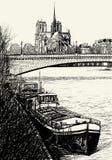 El la de París - de Ile de cita - gabarras libre illustration