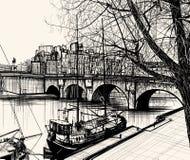 El la de París - de Ile de cita - Pont Neuf ilustración del vector