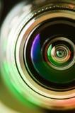 El la lente de cámara y verde claro Imagen de archivo