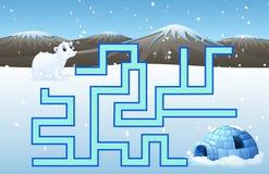 El laberinto de los osos polares del juego encuentra su manera al iglo libre illustration