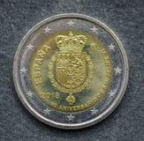 El lado nacional de la moneda del euro dos publicó por España 2018 Fotos de archivo libres de regalías