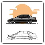El lado retro superior del coche compite stock de ilustración