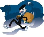El ladrón casero recorre apagado con el botín Imagen de archivo