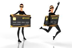 Ladrón de la mujer con la tarjeta de crédito en el fondo blanco Fotos de archivo libres de regalías