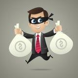 El ladrón del hombre de negocios sostiene bolsos con el dinero Foto de archivo libre de regalías