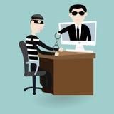 El ladrón digital estaba bajo detención con policía Fotos de archivo libres de regalías