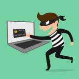 El ladrón Hacker roba su tarjeta y dinero de crédito de los datos ilustración del vector