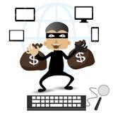 El ladrón Hacker roba sus datos y dinero después de pagado con Internet de la tarjeta de créditos en línea stock de ilustración