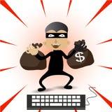 El ladrón Hacker roba sus datos y dinero después de pagado con Internet de la tarjeta de créditos en línea libre illustration