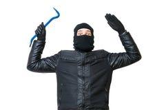 El ladrón o el ladrón está poniendo las manos El ladrón arrestado está abandonando fotografía de archivo