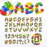 El ladrillo colorido juega la fuente con números Imagen de archivo libre de regalías