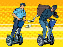El ladrón huye con el dinero de la policía Imagen de archivo libre de regalías