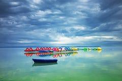 El lago Balatón antes de la tormenta en Hungría Escena tranquila fotos de archivo libres de regalías