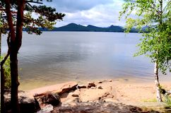 El lago Borovoe, indica el parque natural nacional Imágenes de archivo libres de regalías