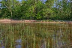 El lago bowstring es parte del nativo americano Reserva del lago leech fotografía de archivo