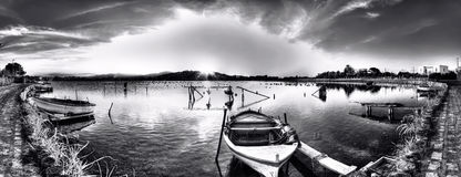 El lago de Ganzirri Imagen de archivo
