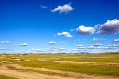 El lago general en WulanBu todo el campo de batalla antiguo del prado Foto de archivo