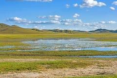El lago general en WulanBu todo el campo de batalla antiguo del prado Imagen de archivo