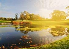 El lago golf course fijó en un paisaje irlandés del bosque Fotografía de archivo libre de regalías