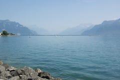 El lago Lemán o laca Léman en el verano Fotografía de archivo libre de regalías