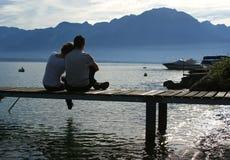 El lago Lemán, Suiza, Europa Imagen de archivo