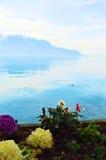 El lago Lemán y flores coloridas en Suiza, Europa Imagenes de archivo
