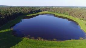 El lago Malenets, vídeo aéreo de la mañana de junio Montañas de Pushkin, Rusia almacen de video