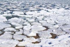 El lago Michigan Iceburgs foto de archivo