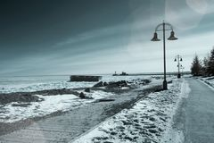 El lago Superior en Duluth, costa de Minnesota congelado en el invierno i Fotografía de archivo