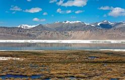 El lago Tsokar cerca de más aclara en la manera a Tsomiriri, Leh-Ladakh, Jammu y Cachemira, Ladakh imagenes de archivo