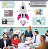 El lanzamiento de la acción de las ideas del planeamiento del plan de la innovación comienza para arriba el éxito Co Foto de archivo