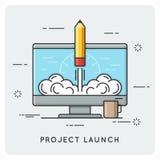 El lanzamiento del proyecto y empieza para arriba Línea fina concepto Imagenes de archivo