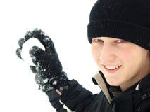 El lanzar de la bola de nieve Foto de archivo libre de regalías