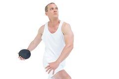 El lanzar del deportista lanzamiento de peso Imagen de archivo