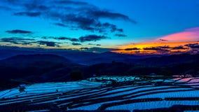 El lapso de tiempo, cielo después de la puesta del sol sobre los campos del arroz reflejó en el agua metrajes
