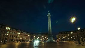 El lapso de tiempo de coloca Vendome en París almacen de metraje de vídeo