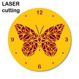 El laser cortó el reloj con la mariposa bajo-polivinílica para el interior Cortadora del laser de la plantilla para la madera y e stock de ilustración
