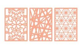 El laser cortó el sistema ornamental de la plantilla de los paneles con el modelo de los remolinos ilustración del vector