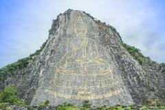 El laser de oro de Buda talló e inlayed con oro en la ji Cha de Khao Imágenes de archivo libres de regalías