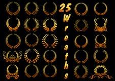 El laurel de oro enrruella con las cintas y arquea iconos Imagen de archivo