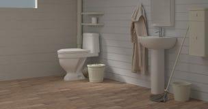 El lavabo del sitio del retrete de las mejoras para el hogar que limpia la pared vacía del backgroun interior vacío del sitio del imagen de archivo libre de regalías