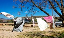 El lavadero en una cuerda para tender la ropa, soplos en el viento en un alto desierto ajardina Imágenes de archivo libres de regalías